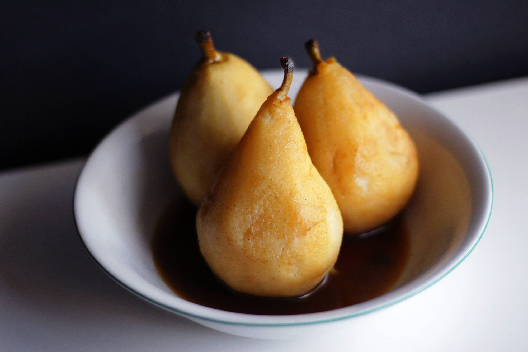 Citrus Poached Pears with Cranberry Compote and Maple Cinnamon Cream