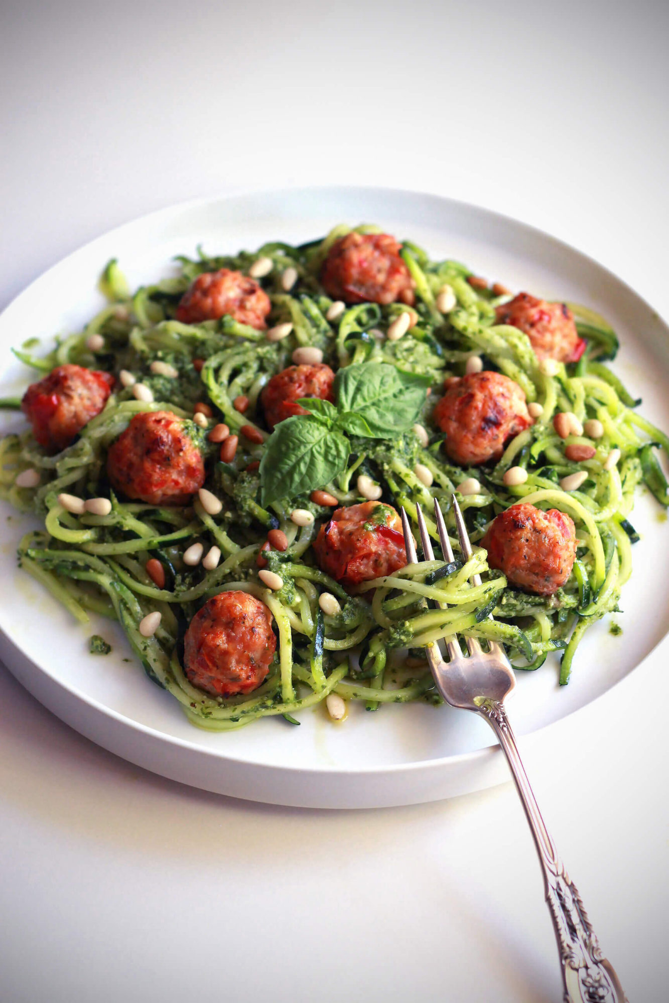 Pesto Zoodles with Mini Chicken Bacon Meatballs